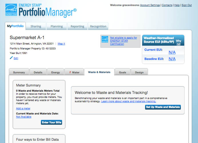 Screenshot example: Metrics Summary Chart- last row is Total Waste Disposed