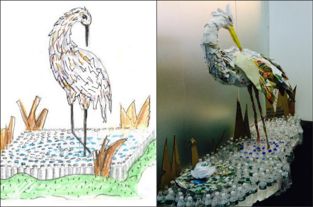 Recycled bird collage