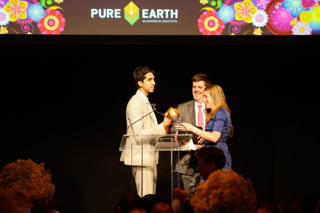 Pure Earth/Blacksmith Institute president Richard Fuller presents Dev Patel with his award at the inaugural Pure Earth benefit gala in NYC on April 26, 2014