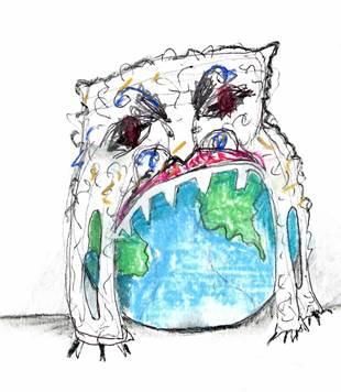 Artist's sketch of the plastic bag monster