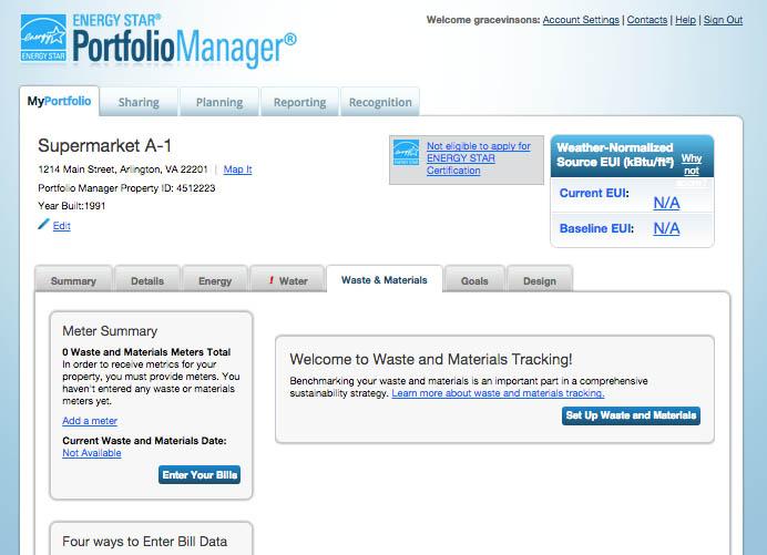 Screenshot example: Metrics Summary Chart- last row is Total Waste Disposed